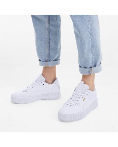 Кожаные спортивные белые кроссовки на платформе на шнуровке Puma