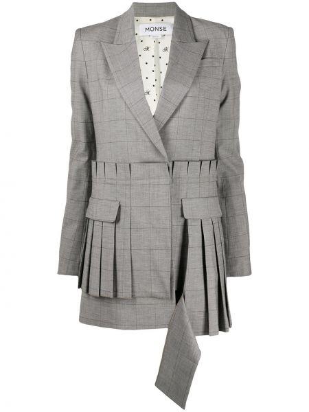 Шерстяное классическое плиссированное серое платье Monse