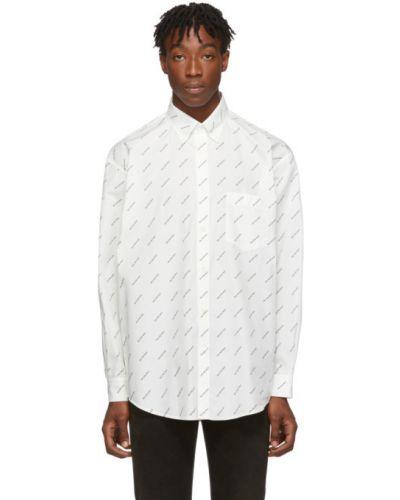 Biały koszula z kołnierzem z kieszeniami z łatami Balenciaga
