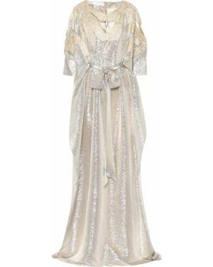 Платье с пайетками в рубчик Oscar De La Renta