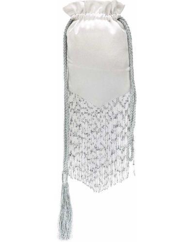 С кулиской серебряная сумка с бисером Galvan