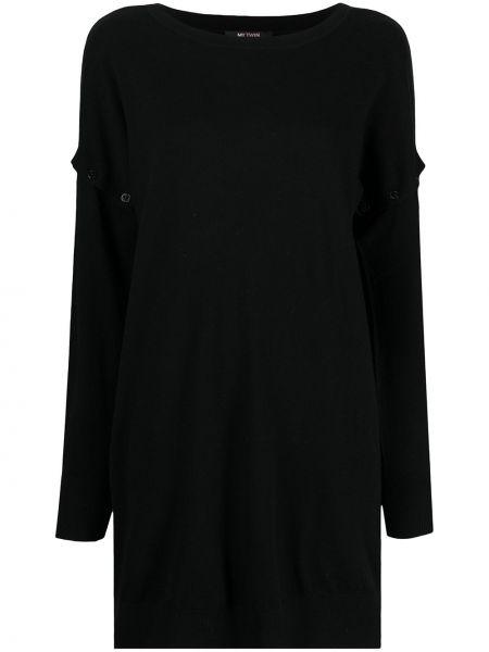 Вязаное черное платье макси с длинными рукавами Twin-set