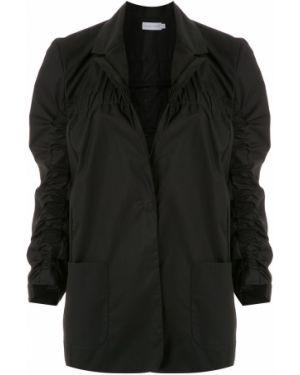 Черное длинное пальто с капюшоном на пуговицах Mara Mac