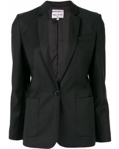 Однобортный черный пиджак с карманами Paul & Joe
