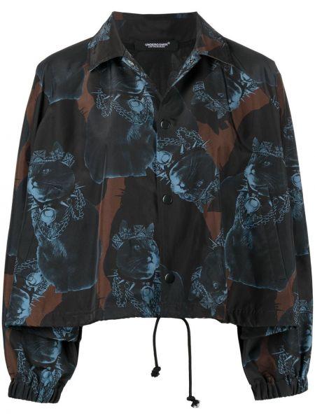 Черная короткая куртка с поясом с воротником Undercover