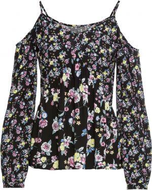 Блузка с открытыми плечами с длинным рукавом с V-образным вырезом Bonprix