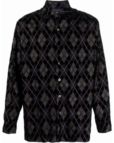 Czarna klasyczna koszula Needles