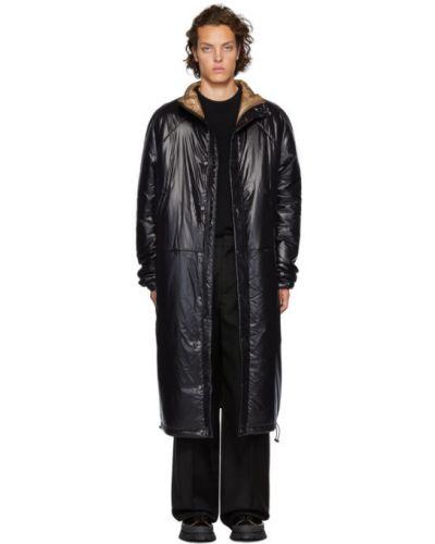 Черное длинное пальто с воротником двустороннее Kassl Editions