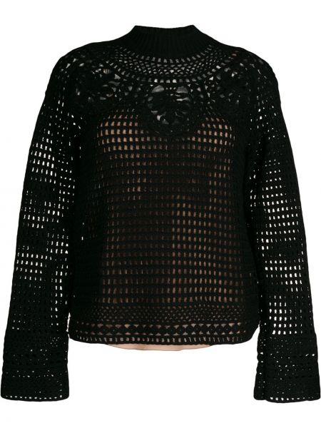 Черный ажурный шерстяной длинный свитер Alberta Ferretti