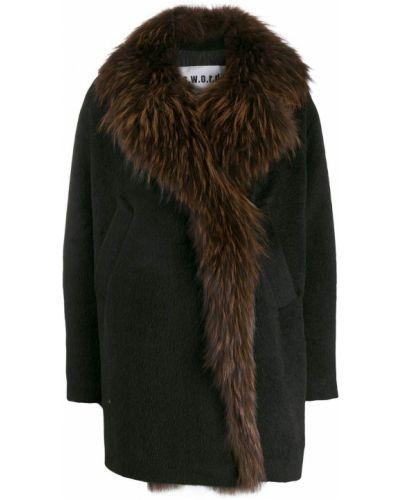 Черное длинное пальто с опушкой S.w.o.r.d 6.6.44