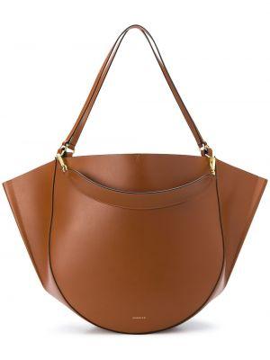 Otwarty skórzany brązowy torba kosmetyczna z kieszeniami Wandler