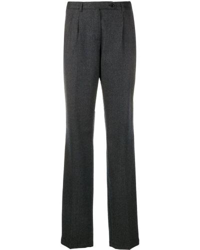 Шерстяные серые расклешенные брюки на пуговицах Massimo Alba