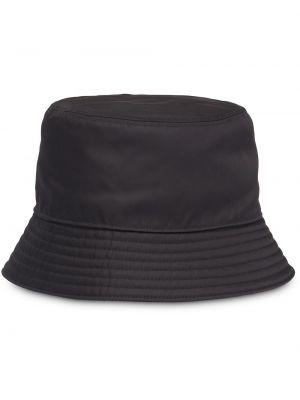 Czarna czapka z nylonu Prada