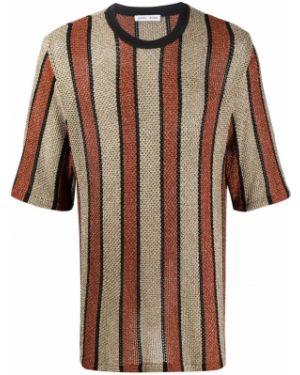 Прямая коричневая футболка из вискозы с круглым вырезом Cmmn Swdn
