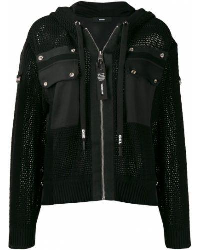 Куртка с капюшоном черная длинная Diesel