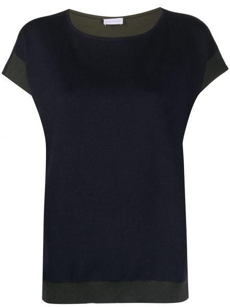 Niebieski t-shirt krótki rękaw z jedwabiu Maison Ullens