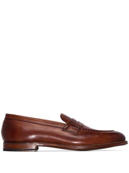 Коричневые кожаные лоферы на каблуке с подкладкой Grenson