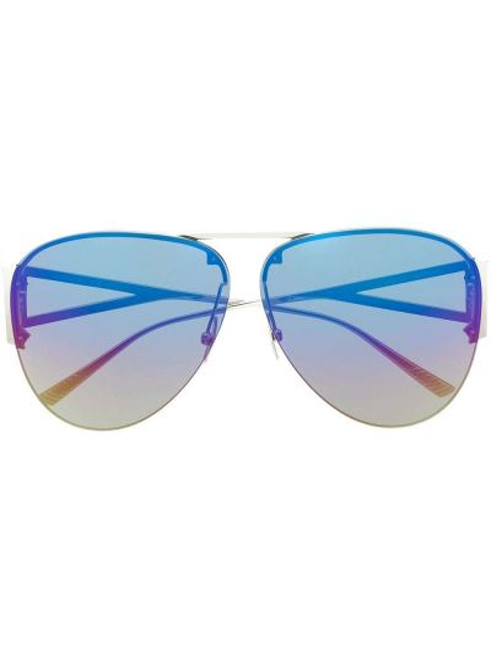 Солнцезащитные очки металлические хаки Bottega Veneta Eyewear
