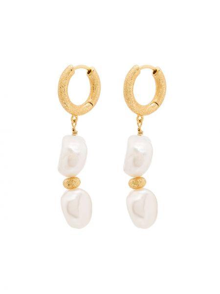 Золотистые желтые серьги с жемчугом позолоченные с жемчугом Anni Lu