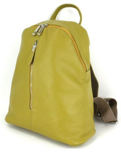Кожаный рюкзак - желтый Borsacomoda