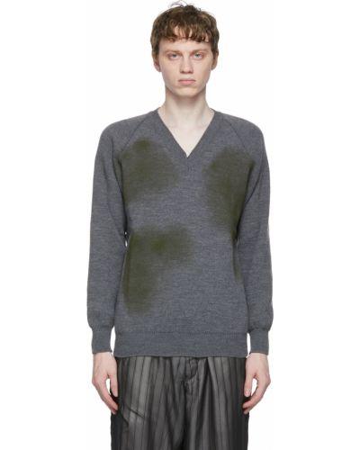 Długi sweter z dekoltem w serek khaki z raglanowymi rękawami Comme Des Garcons Homme Deux