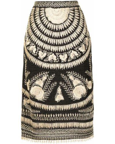 Czarna spódnica z haftem Ralph Lauren Collection