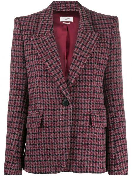 Шерстяной розовый удлиненный пиджак в клетку Isabel Marant étoile