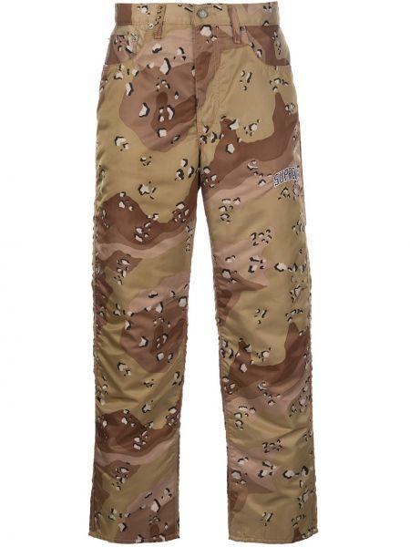Zielony spodni prosto spodnie o prostym kroju z kieszeniami Supreme