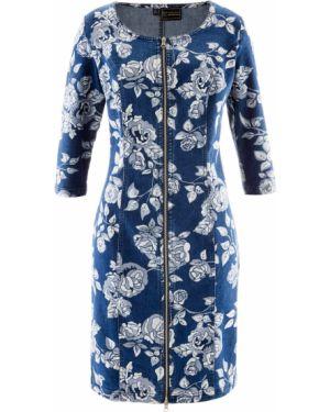 Джинсовое платье с цветочным принтом с длинными рукавами Bonprix