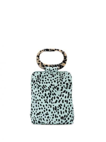 Кожаная синяя кожаная сумка с карманами Edie Parker