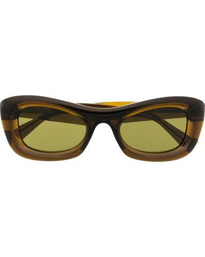 Солнцезащитные очки прямоугольные хаки Bottega Veneta Eyewear