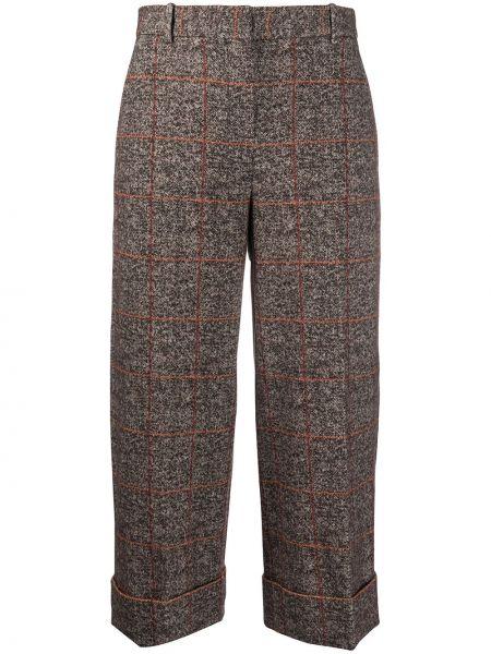 Хлопковые коричневые укороченные брюки с карманами с высокой посадкой Circolo 1901
