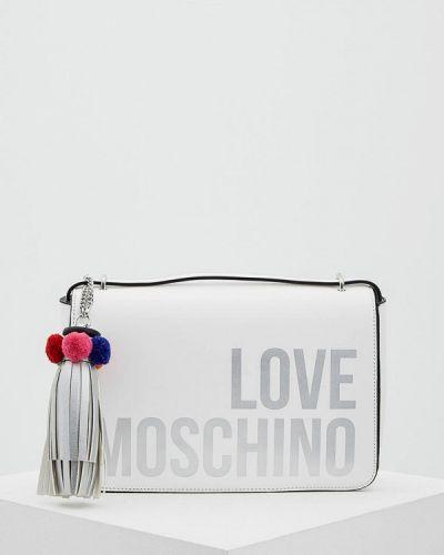 Белая сумка через плечо Love Moschino