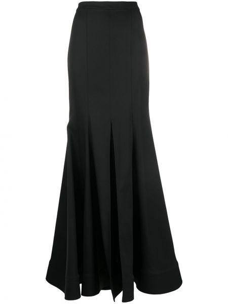 Черная расклешенная юбка макси со складками Avaro Figlio