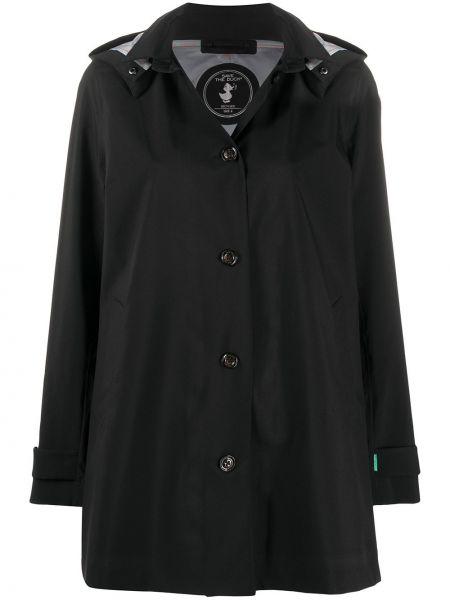 Черный длинное пальто с капюшоном из плащевки Save The Duck