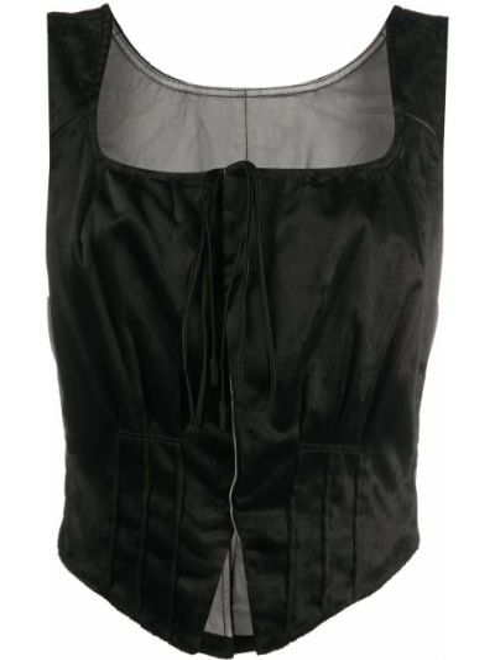 Приталенная черная жилетка квадратная без рукавов Renli Su