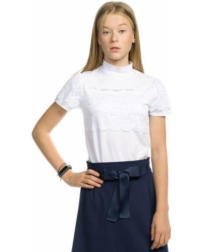 С рукавами классическая ажурная футболка с воротником-стойка Pelican