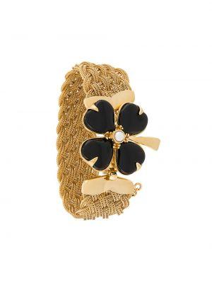 Золотистый желтый плетеный браслет с жемчугом Goossens