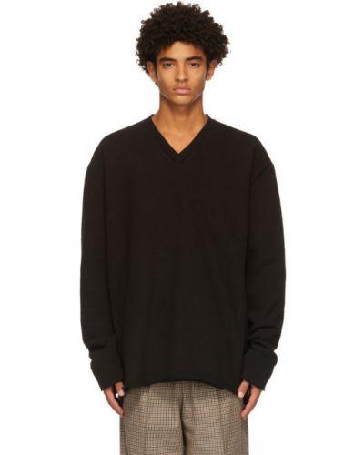 Черный свитер с V-образным вырезом с воротником стрейч Camiel Fortgens
