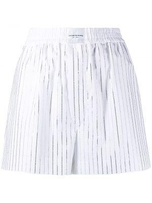 Białe szorty w paski bawełniane Alexander Wang