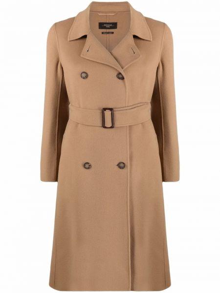 Коричневое пальто из вискозы Weekend Max Mara