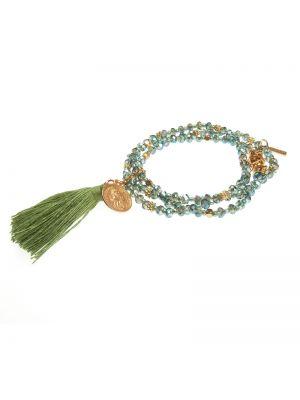 Bransoletka z koralikami - zielona Tatami