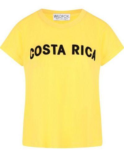 Желтая футболка с надписями Wildfox