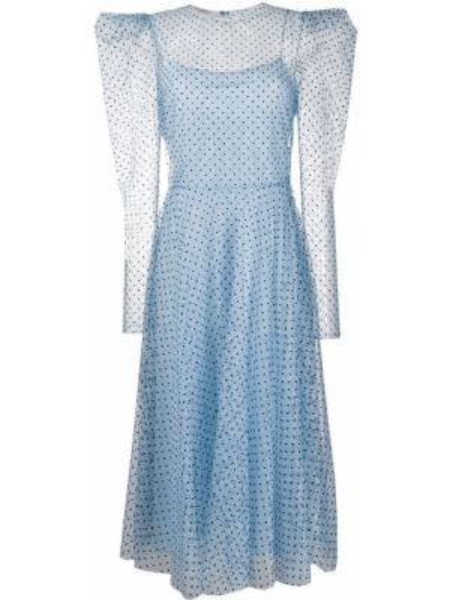С рукавами синее платье прозрачное Philosophy Di Lorenzo Serafini