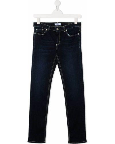 Классические синие джинсы с нашивками с заклепками Dondup Kids