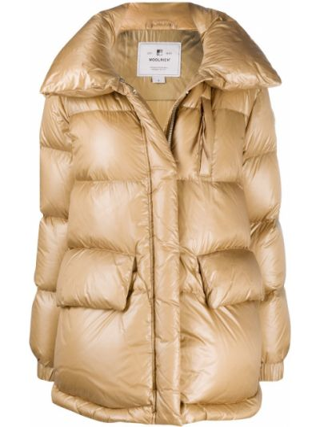 Пуховое длинное пальто золотое с перьями с карманами Woolrich