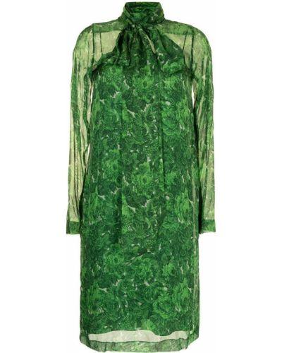 Шелковое платье миди - зеленое N°21