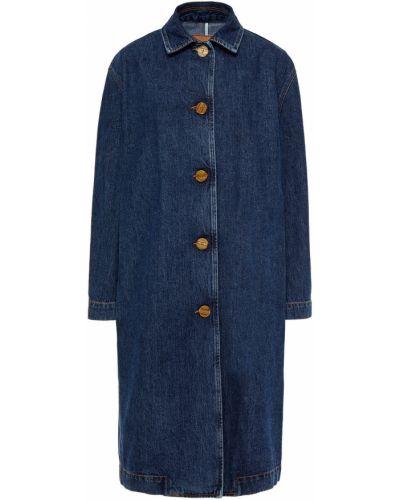Ватное синее пальто с карманами Mcq Alexander Mcqueen