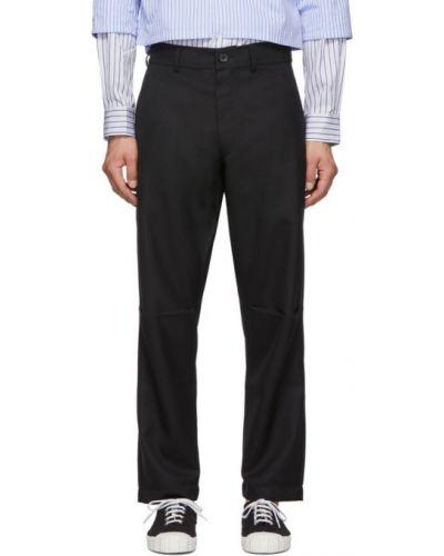 Czarne spodnie wełniane z paskiem Comme Des Garcons Shirt