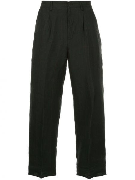 Черные льняные прямые брюки с поясом на пуговицах Bergfabel